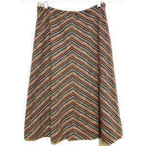 Vtg 70s Chevron Knit Midi Multicolour Skirt Sz XL